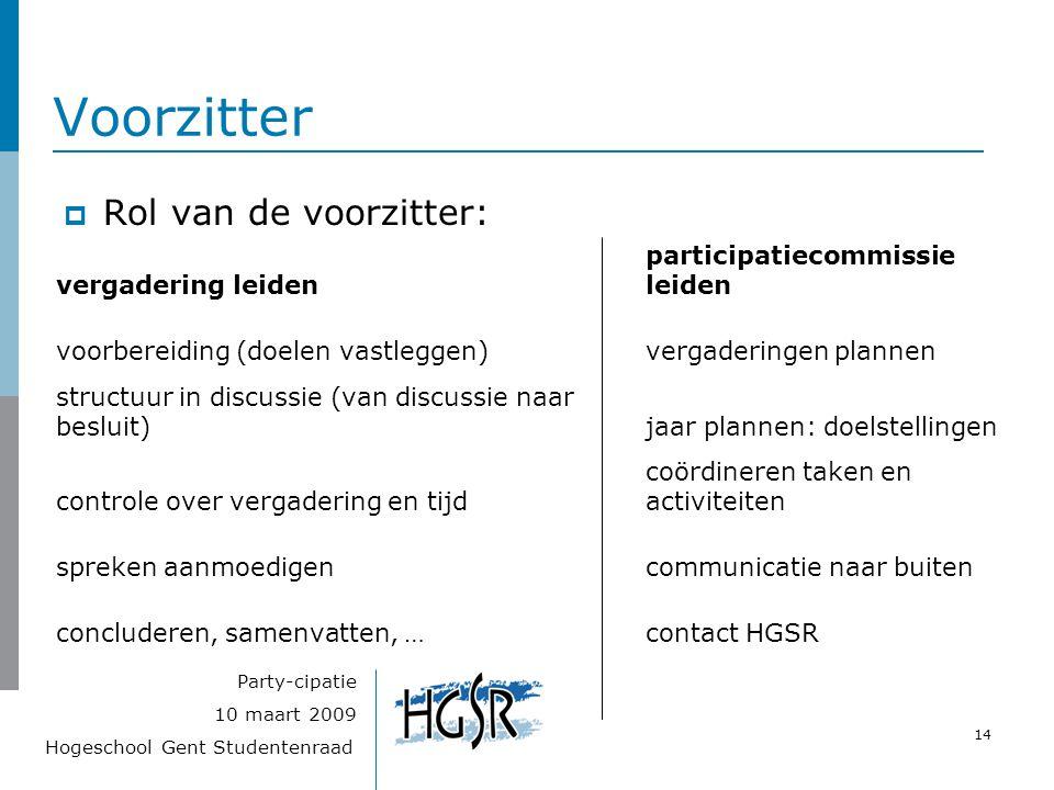Hogeschool Gent Studentenraad 14 10 maart 2009 Party-cipatie Voorzitter  Rol van de voorzitter: vergadering leiden participatiecommissie leiden voorb