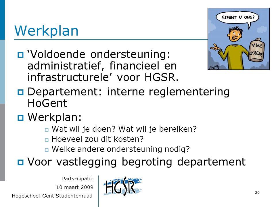 Hogeschool Gent Studentenraad 20 10 maart 2009 Party-cipatie Werkplan  'Voldoende ondersteuning: administratief, financieel en infrastructurele' voor HGSR.