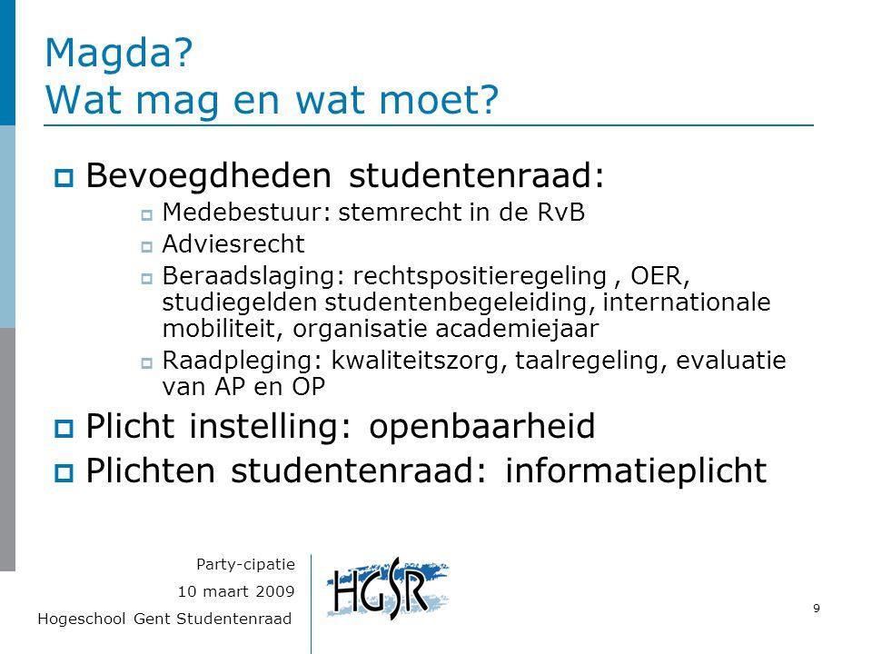 Hogeschool Gent Studentenraad 9 10 maart 2009 Party-cipatie Magda? Wat mag en wat moet?  Bevoegdheden studentenraad:  Medebestuur: stemrecht in de R