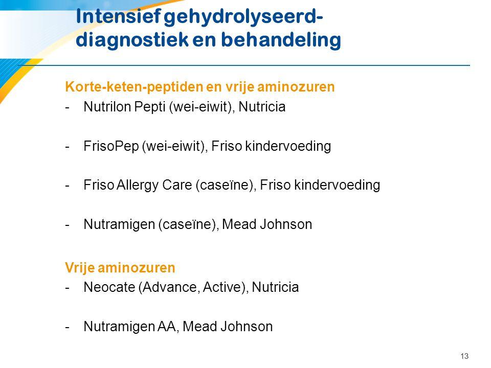 13 Intensief gehydrolyseerd- diagnostiek en behandeling Korte-keten-peptiden en vrije aminozuren -Nutrilon Pepti (wei-eiwit), Nutricia -FrisoPep (wei-