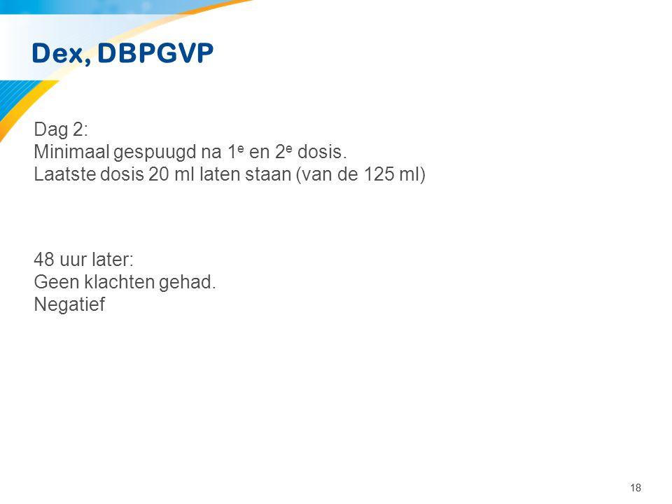 18 Dex, DBPGVP Dag 2: Minimaal gespuugd na 1 e en 2 e dosis. Laatste dosis 20 ml laten staan (van de 125 ml) 48 uur later: Geen klachten gehad. Negati
