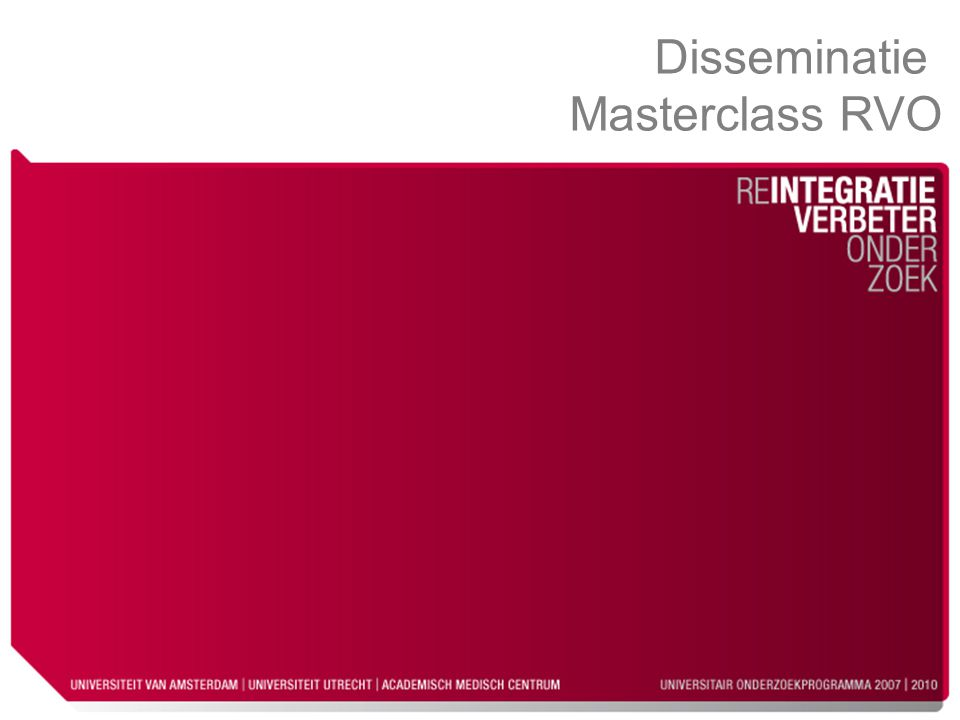 Disseminatie Masterclass RVO