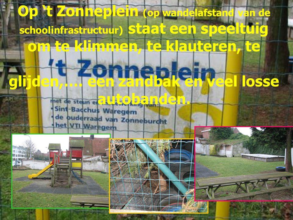 Op 't Zonneplein (op wandelafstand van de schoolinfrastructuur) staat een speeltuig om te klimmen, te klauteren, te glijden,…. een zandbak en veel los