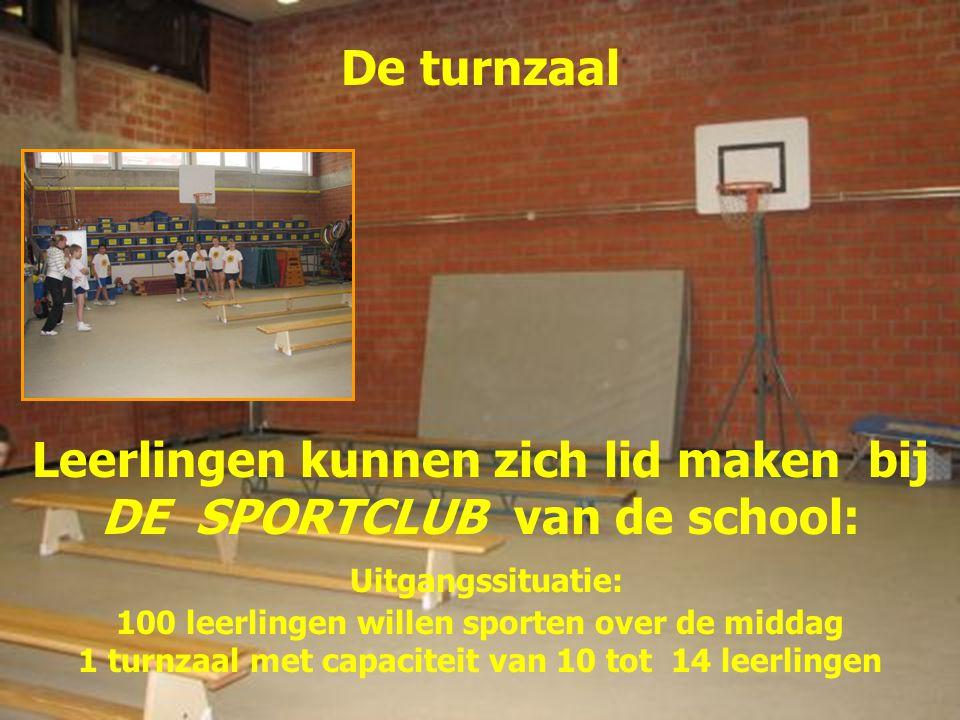 De turnzaal Leerlingen kunnen zich lid maken bij DE SPORTCLUB van de school: Uitgangssituatie: 100 leerlingen willen sporten over de middag 1 turnzaal met capaciteit van 10 tot 14 leerlingen