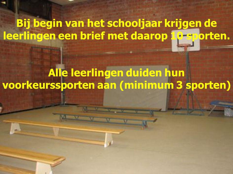 Bij begin van het schooljaar krijgen de leerlingen een brief met daarop 10 sporten. Alle leerlingen duiden hun voorkeurssporten aan (minimum 3 sporten