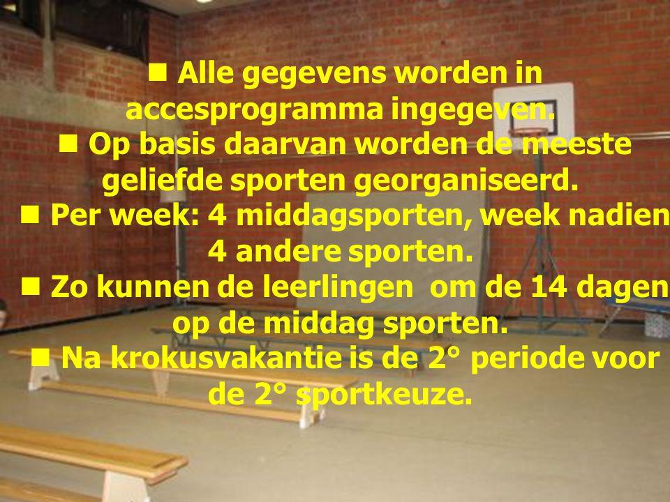 Alle gegevens worden in accesprogramma ingegeven. Op basis daarvan worden de meeste geliefde sporten georganiseerd. Per week: 4 middagsporten, week na