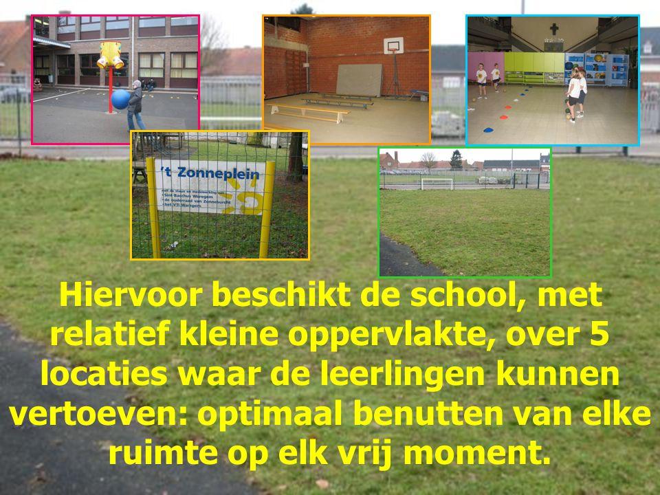 Hiervoor beschikt de school, met relatief kleine oppervlakte, over 5 locaties waar de leerlingen kunnen vertoeven: optimaal benutten van elke ruimte o