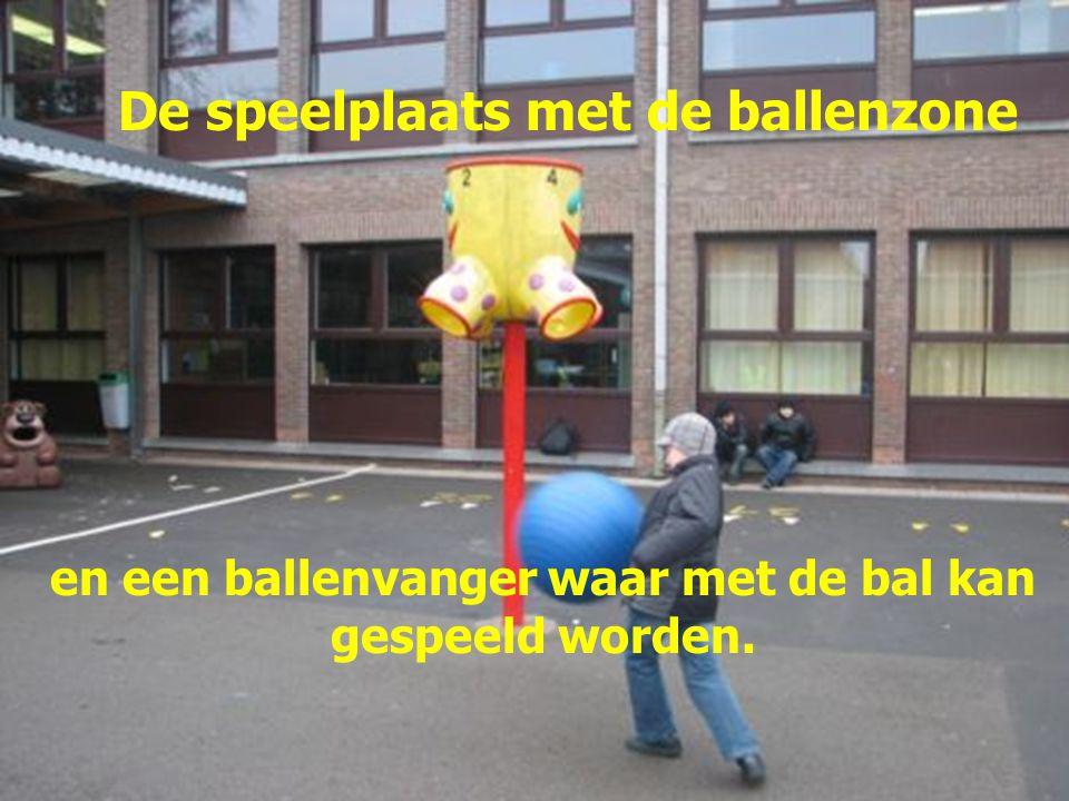 De speelplaats met de ballenzone en een ballenvanger waar met de bal kan gespeeld worden.