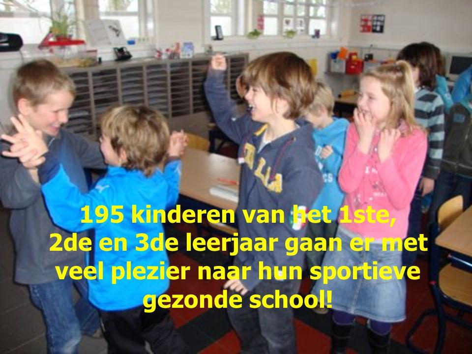 195 kinderen van het 1ste, 2de en 3de leerjaar gaan er met veel plezier naar hun sportieve gezonde school!