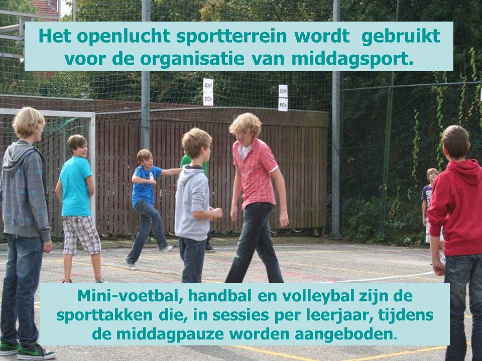 Het openlucht sportterrein wordt gebruikt voor de organisatie van middagsport. Mini-voetbal, handbal en volleybal zijn de sporttakken die, in sessies
