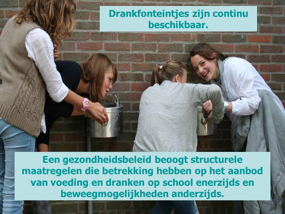 Een gezondheidsbeleid beoogt structurele maatregelen die betrekking hebben op het aanbod van voeding en dranken op school enerzijds en beweegmogelijkh