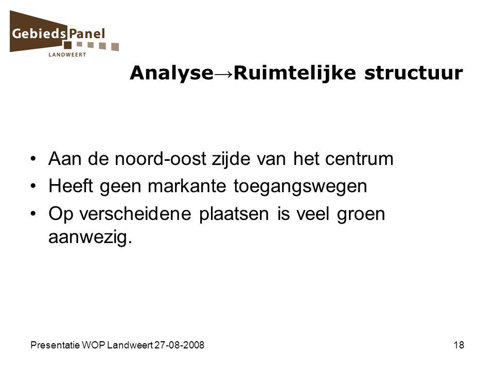 Presentatie WOP Landweert 27-08-200818 Analyse → Ruimtelijke structuur Aan de noord-oost zijde van het centrum Heeft geen markante toegangswegen Op ve