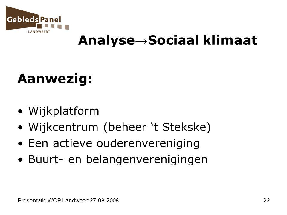 Presentatie WOP Landweert 27-08-200822 Analyse → Sociaal klimaat Aanwezig: Wijkplatform Wijkcentrum (beheer 't Stekske) Een actieve ouderenvereniging