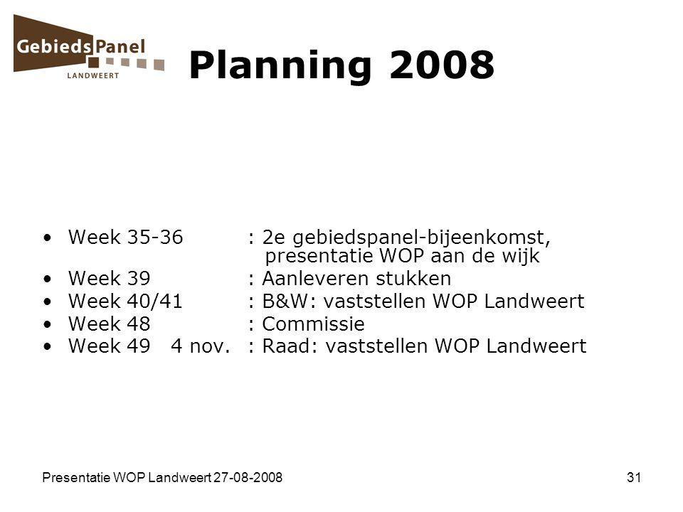 Presentatie WOP Landweert 27-08-200831 Planning 2008 Week 35-36: 2e gebiedspanel-bijeenkomst, presentatie WOP aan de wijk Week 39: Aanleveren stukken
