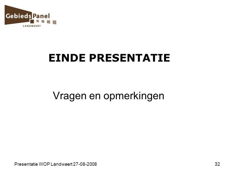Presentatie WOP Landweert 27-08-200832 EINDE PRESENTATIE Vragen en opmerkingen