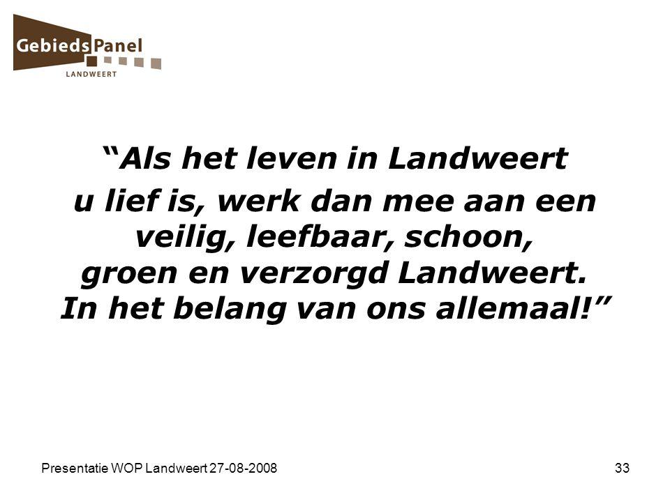 """Presentatie WOP Landweert 27-08-200833 """"Als het leven in Landweert u lief is, werk dan mee aan een veilig, leefbaar, schoon, groen en verzorgd Landwee"""