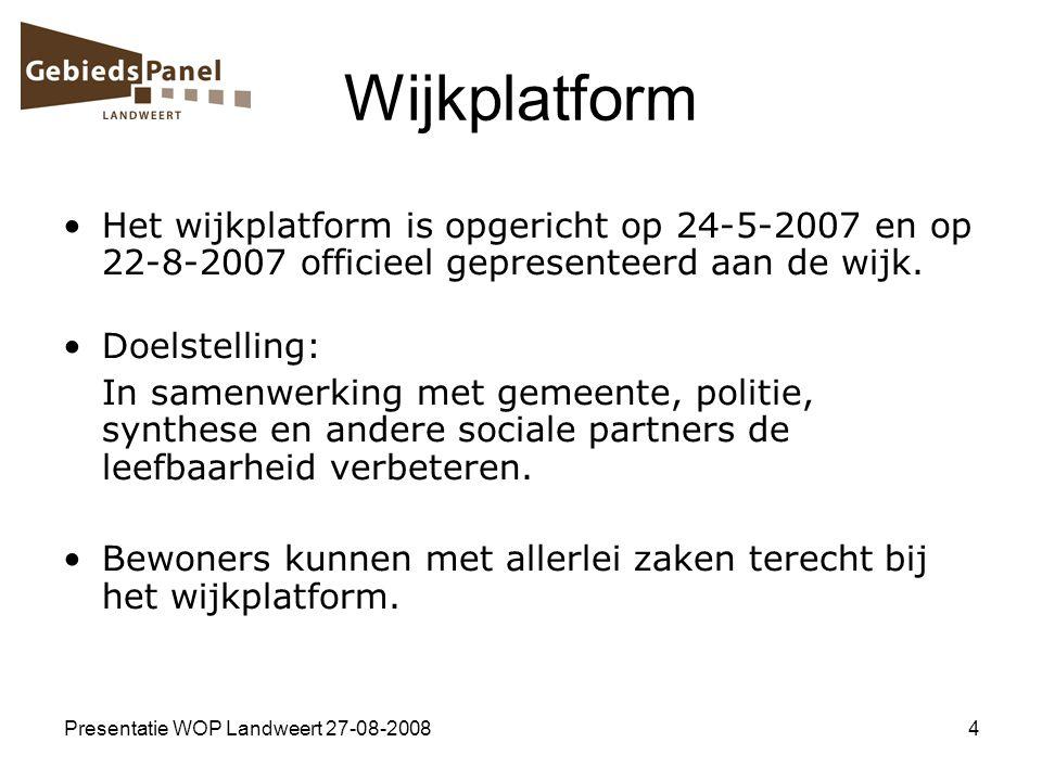 Presentatie WOP Landweert 27-08-20084 Wijkplatform Het wijkplatform is opgericht op 24-5-2007 en op 22-8-2007 officieel gepresenteerd aan de wijk. Doe