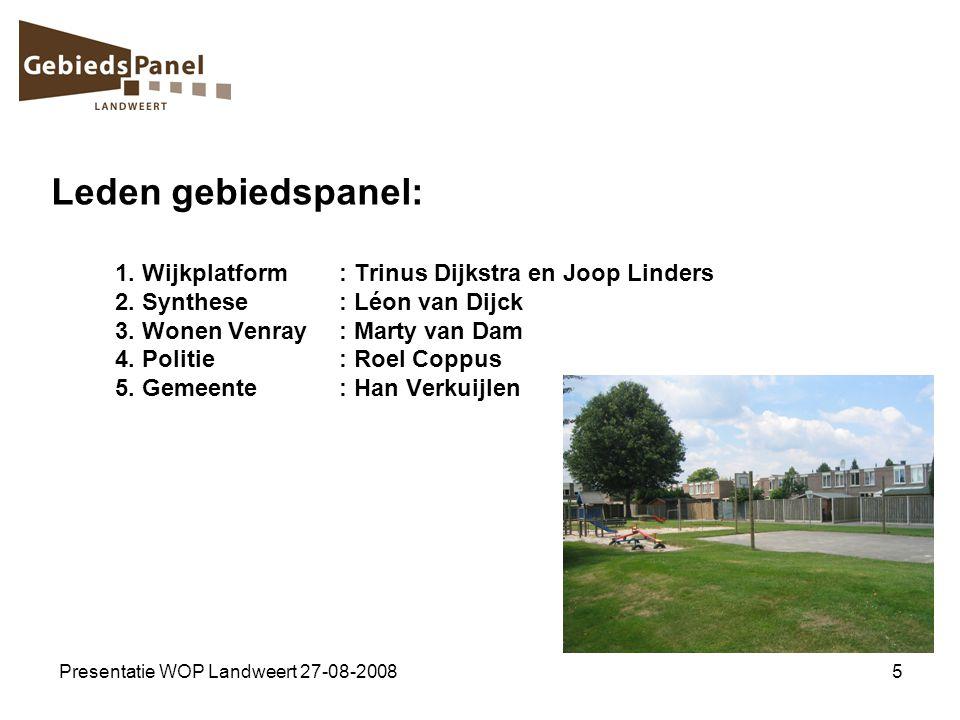 Presentatie WOP Landweert 27-08-20085 Leden gebiedspanel: 1. Wijkplatform: Trinus Dijkstra en Joop Linders 2. Synthese: Léon van Dijck 3. Wonen Venray