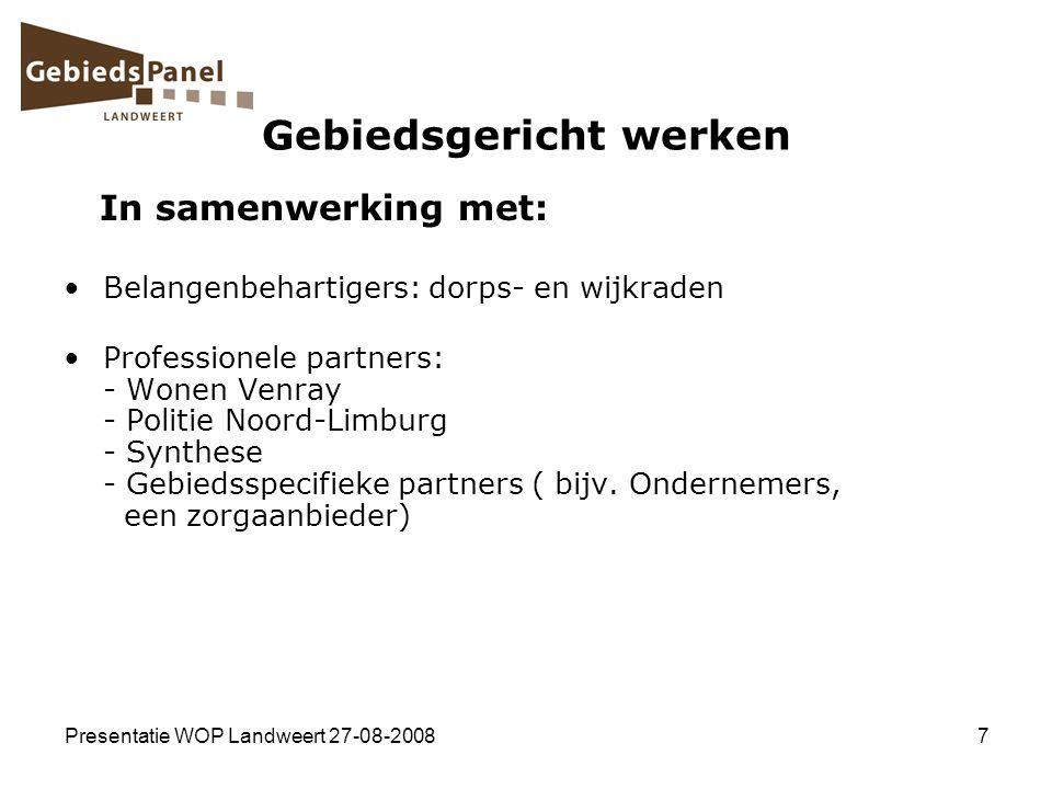 Presentatie WOP Landweert 27-08-20087 Gebiedsgericht werken In samenwerking met: Belangenbehartigers: dorps- en wijkraden Professionele partners: - Wo