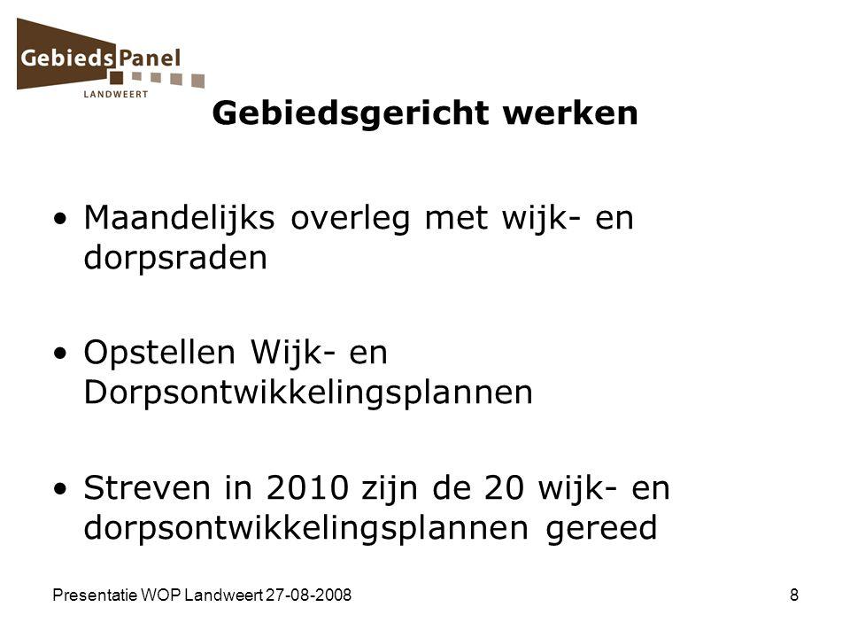 Presentatie WOP Landweert 27-08-20088 Gebiedsgericht werken Maandelijks overleg met wijk- en dorpsraden Opstellen Wijk- en Dorpsontwikkelingsplannen S