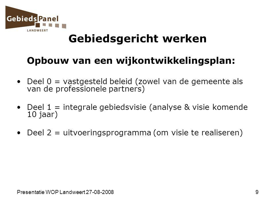 Presentatie WOP Landweert 27-08-20089 Gebiedsgericht werken Opbouw van een wijkontwikkelingsplan: Deel 0 = vastgesteld beleid (zowel van de gemeente a