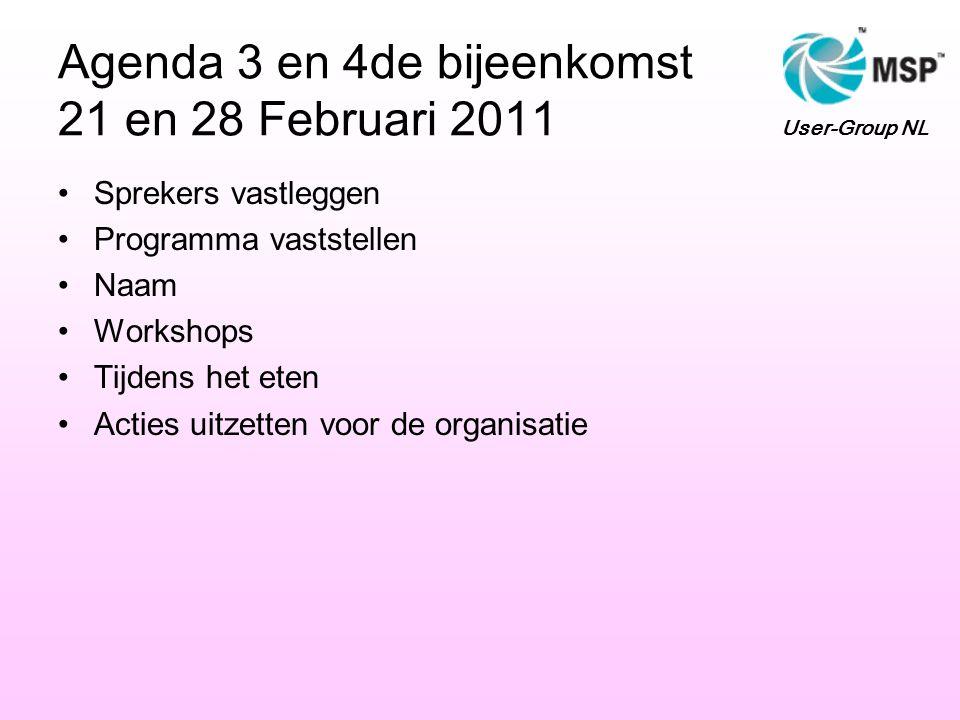 Agenda 3 en 4de bijeenkomst 21 en 28 Februari 2011 Sprekers vastleggen Programma vaststellen Naam Workshops Tijdens het eten Acties uitzetten voor de organisatie User-Group NL