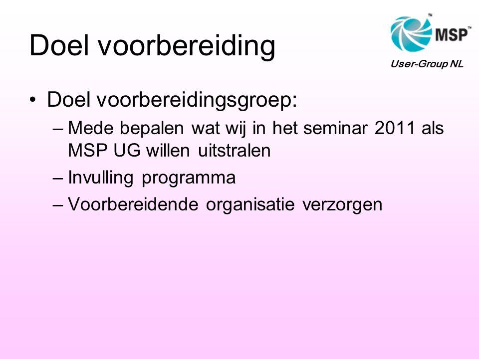 Doel voorbereiding Doel voorbereidingsgroep: –Mede bepalen wat wij in het seminar 2011 als MSP UG willen uitstralen –Invulling programma –Voorbereidende organisatie verzorgen User-Group NL