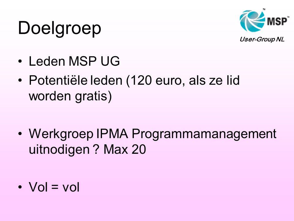 Doelgroep Leden MSP UG Potentiële leden (120 euro, als ze lid worden gratis) Werkgroep IPMA Programmamanagement uitnodigen .