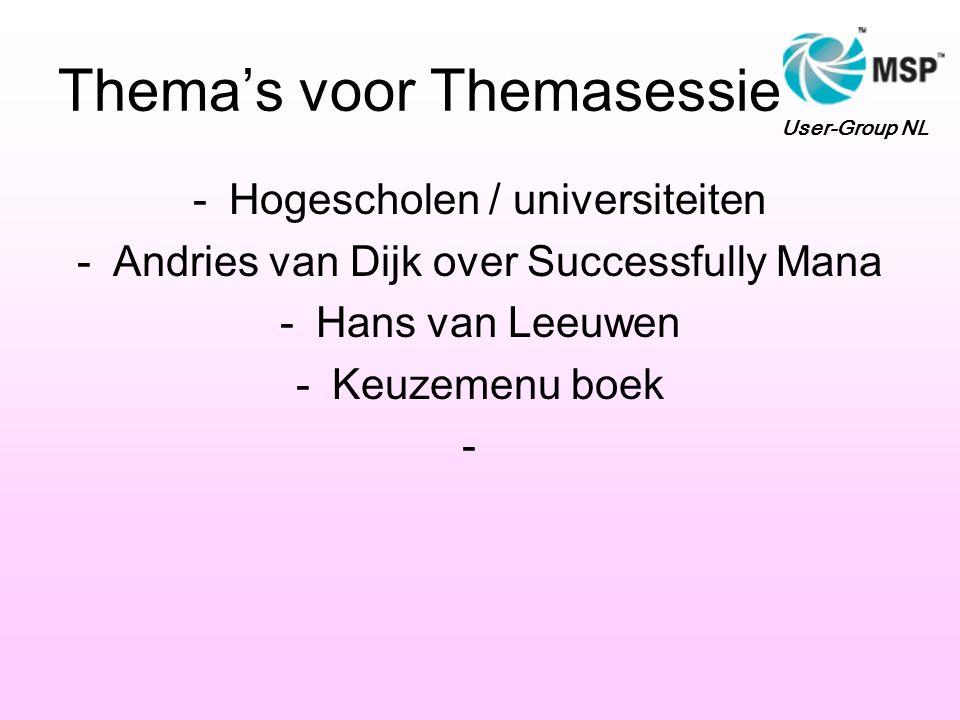 Thema's voor Themasessie -Hogescholen / universiteiten -Andries van Dijk over Successfully Mana -Hans van Leeuwen -Keuzemenu boek - User-Group NL