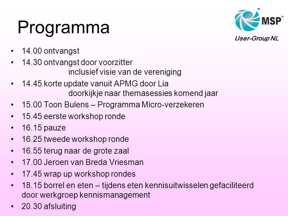 Programma 14.00 ontvangst 14.30 ontvangst door voorzitter inclusief visie van de vereniging 14.45 korte update vanuit APMG door Lia doorkijkje naar themasessies komend jaar 15.00 Toon Bulens – Programma Micro-verzekeren 15.45 eerste workshop ronde 16.15 pauze 16.25 tweede workshop ronde 16.55 terug naar de grote zaal 17.00 Jeroen van Breda Vriesman 17.45 wrap up workshop rondes 18.15 borrel en eten – tijdens eten kennisuitwisselen gefaciliteerd door werkgroep kennismanagement 20.30 afsluiting User-Group NL