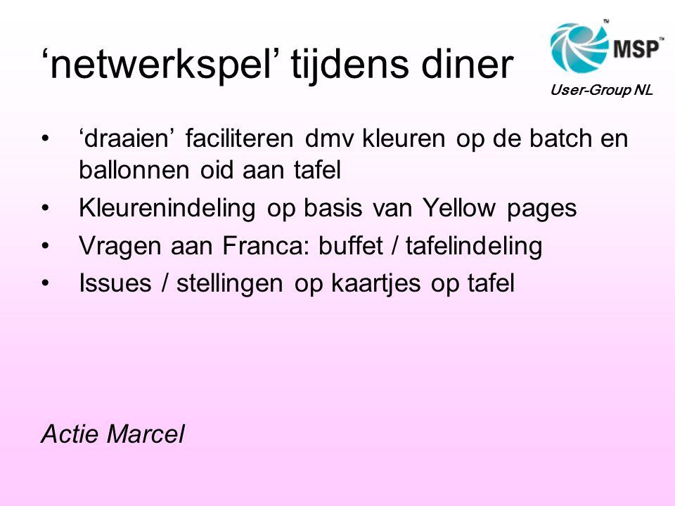 'netwerkspel' tijdens diner 'draaien' faciliteren dmv kleuren op de batch en ballonnen oid aan tafel Kleurenindeling op basis van Yellow pages Vragen aan Franca: buffet / tafelindeling Issues / stellingen op kaartjes op tafel Actie Marcel User-Group NL
