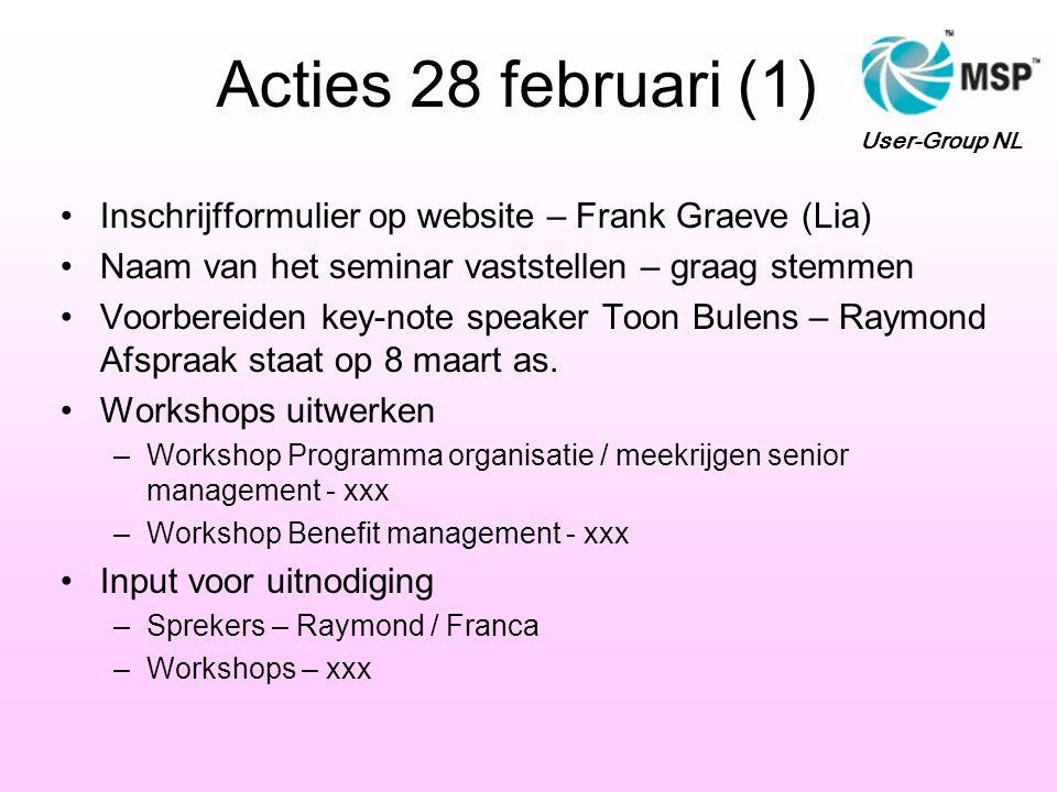 Acties 28 februari (1) Inschrijfformulier op website – Frank Graeve (Lia) Naam van het seminar vaststellen – graag stemmen Voorbereiden key-note speaker Toon Bulens – Raymond Afspraak staat op 8 maart as.