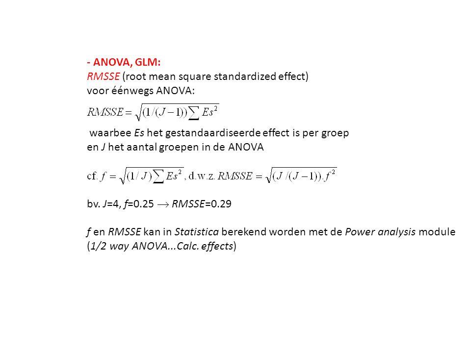 - ANOVA, GLM: RMSSE (root mean square standardized effect) voor éénwegs ANOVA: waarbee Es het gestandaardiseerde effect is per groep en J het aantal g