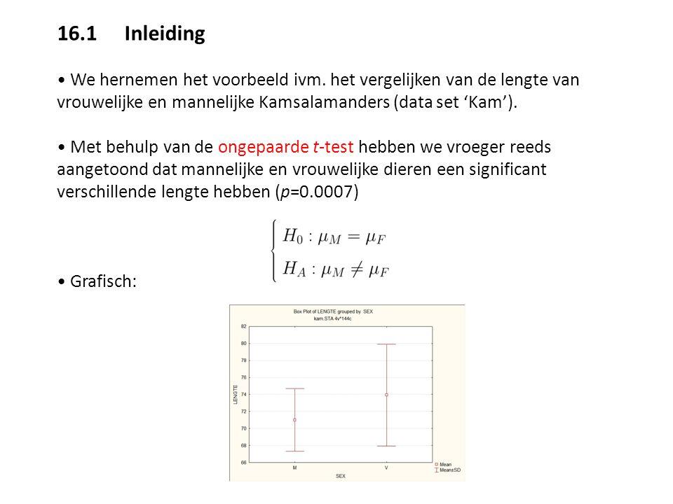 16.3 Bepalen benodigde steekproefgrootte Via de Power analysis...Sample Size Calculation module kan men voor een gegeven test (t-test, ANOVA, correlatie,...) de benodigde steekproefgrootte berekenen om een bepaald vermogen te bereiken.