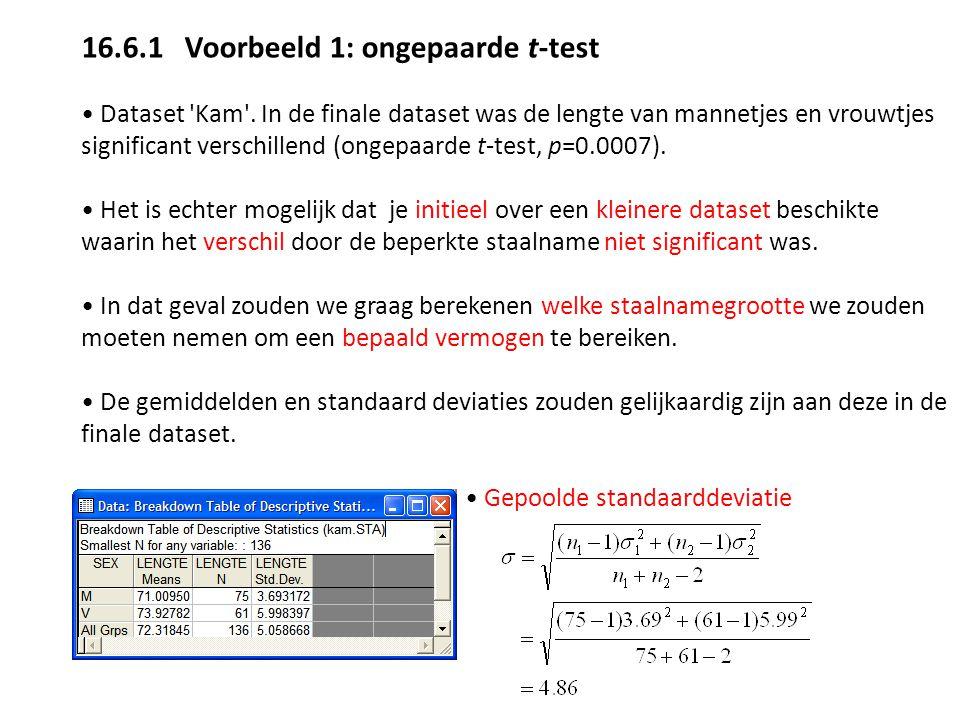 16.6.1 Voorbeeld 1: ongepaarde t-test Dataset 'Kam'. In de finale dataset was de lengte van mannetjes en vrouwtjes significant verschillend (ongepaard