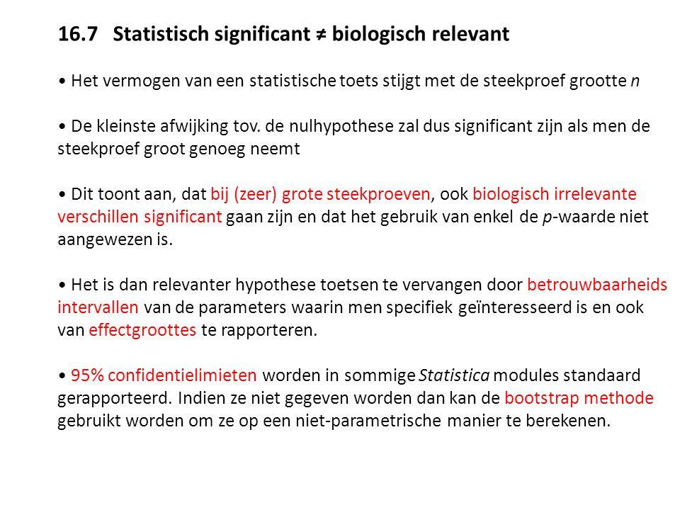 16.7 Statistisch significant ≠ biologisch relevant Het vermogen van een statistische toets stijgt met de steekproef grootte n De kleinste afwijking to