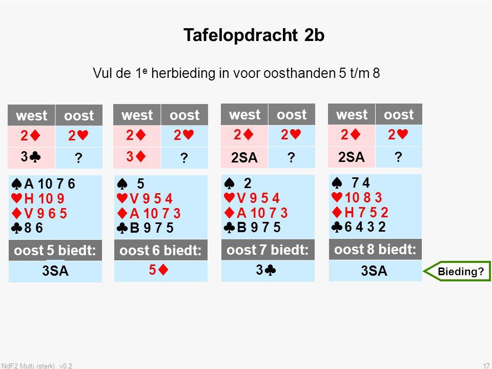 NdF2 Multi (sterk) v0.217 Tafelopdracht 2b westoost 2♦2♥ 3♣? ♠A 10 7 6 ♥H 10 9 ♦V 9 6 5 ♣8 6 oost 5 biedt: ? 3SA Vul de 1 e herbieding in voor oosthan