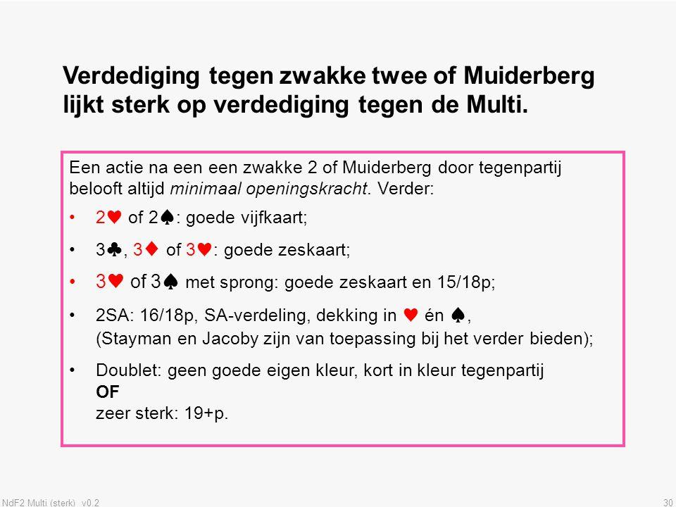 NdF2 Multi (sterk) v0.230 Verdediging tegen zwakke twee of Muiderberg lijkt sterk op verdediging tegen de Multi. Een actie na een een zwakke 2 of Muid
