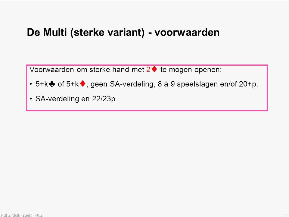 NdF2 Multi (sterk) v0.215 Samenvatting herbieden na sterke Multi Je opent met 2♦ (de Multi) met een sterke hand.