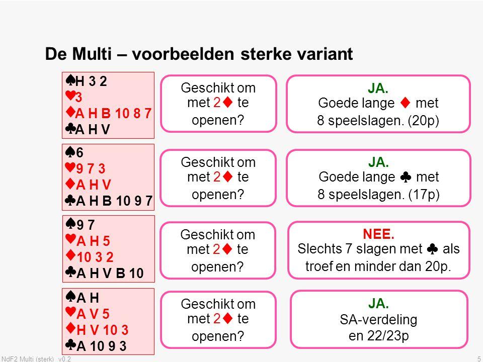 NdF2 Multi (sterk) v0.25 De Multi – voorbeelden sterke variant ♠♥♦♣♠♥♦♣ JA. Goede lange ♦ met 8 speelslagen. (20p) ♠♥♦♣♠♥♦♣ H 3 2 3 A H B 10 8 7 A H V