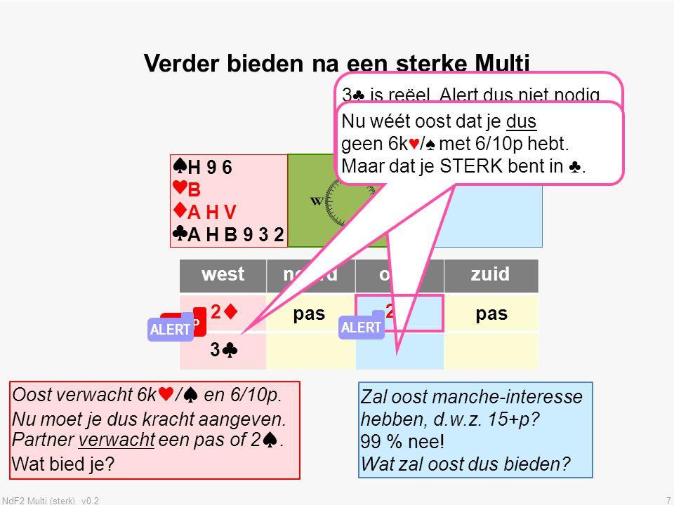 NdF2 Multi (sterk) v0.218 Verdediging tegen de Multi Tegenpartij opent met 2♦ (de Multi).