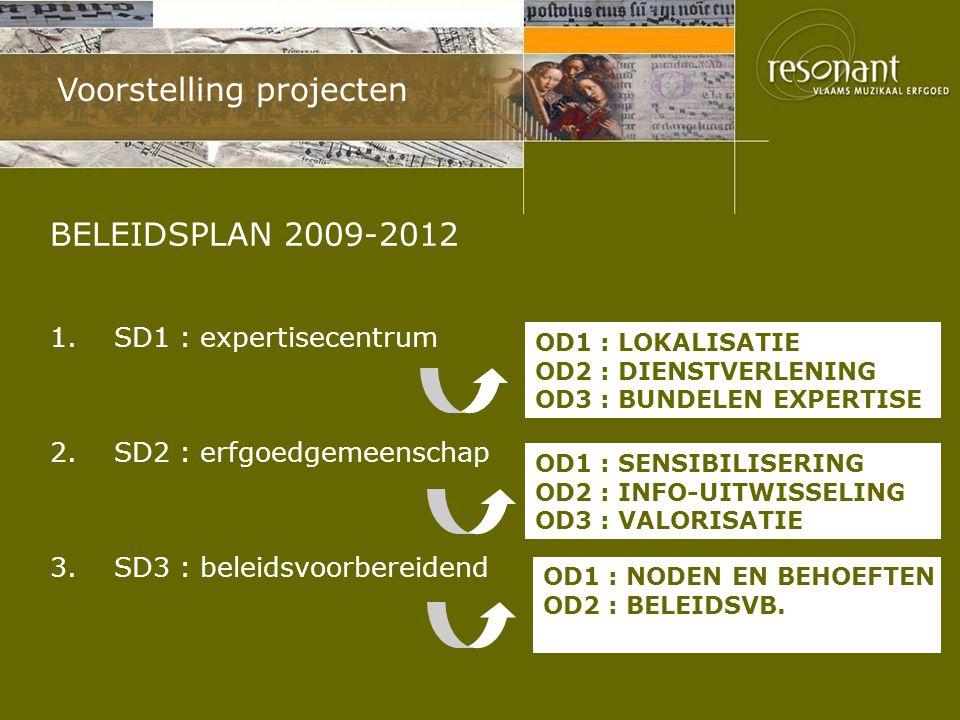 Voorstelling projecten BELEIDSPLAN 2009-2012 1.SD1 : expertisecentrum 2.SD2 : erfgoedgemeenschap 3.SD3 : beleidsvoorbereidend OD1 : SENSIBILISERING OD2 : INFO-UITWISSELING OD3 : VALORISATIE OD1 : LOKALISATIE OD2 : DIENSTVERLENING OD3 : BUNDELEN EXPERTISE OD1 : NODEN EN BEHOEFTEN OD2 : BELEIDSVB.
