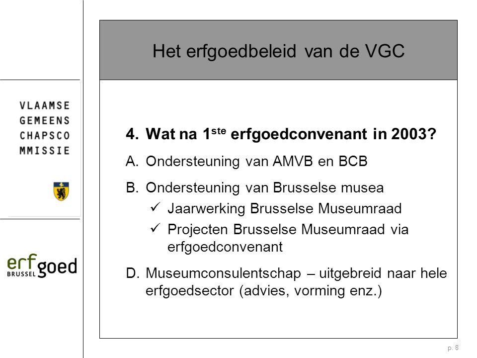 p. 8 Het erfgoedbeleid van de VGC 4. Wat na 1 ste erfgoedconvenant in 2003.