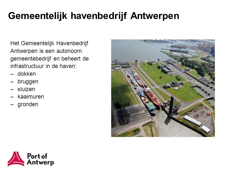 Gemeentelijk havenbedrijf Antwerpen Het Gemeentelijk Havenbedrijf Antwerpen is een autonoom gemeentebedrijf en beheert de infrastructuur in de haven: –dokken –bruggen –sluizen –kaaimuren –gronden
