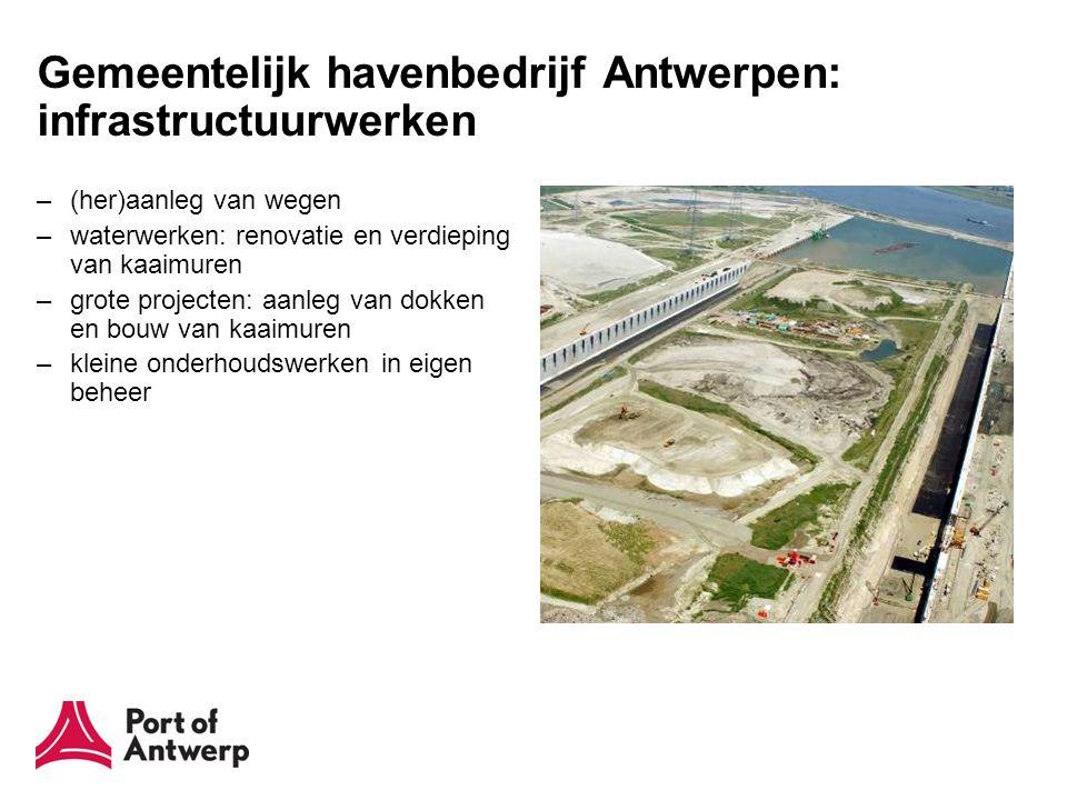 Gemeentelijk havenbedrijf Antwerpen: infrastructuurwerken –(her)aanleg van wegen –waterwerken: renovatie en verdieping van kaaimuren –grote projecten: aanleg van dokken en bouw van kaaimuren –kleine onderhoudswerken in eigen beheer