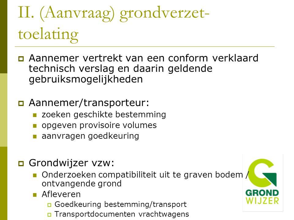  Aannemer vertrekt van een conform verklaard technisch verslag en daarin geldende gebruiksmogelijkheden  Aannemer/transporteur: zoeken geschikte bes