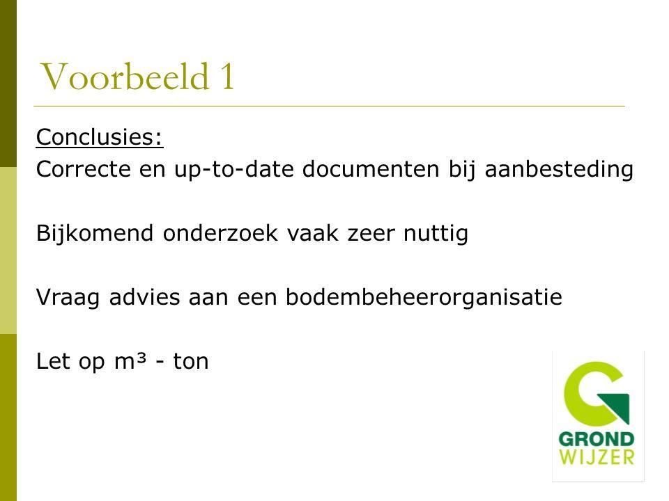 Voorbeeld 1 Conclusies: Correcte en up-to-date documenten bij aanbesteding Bijkomend onderzoek vaak zeer nuttig Vraag advies aan een bodembeheerorgani