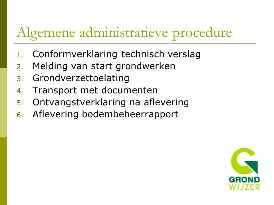 Algemene administratieve procedure 1. Conformverklaring technisch verslag 2. Melding van start grondwerken 3. Grondverzettoelating 4. Transport met do