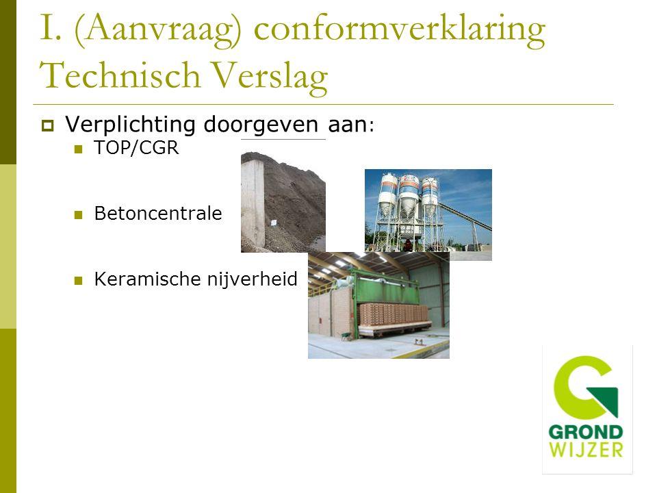 I. (Aanvraag) conformverklaring Technisch Verslag  Verplichting doorgeven aan : TOP/CGR Betoncentrale Keramische nijverheid