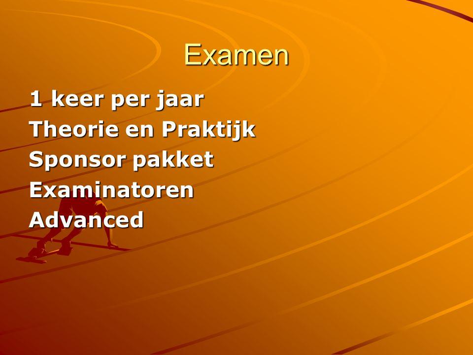 Examen 1 keer per jaar Theorie en Praktijk Sponsor pakket ExaminatorenAdvanced
